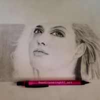 Angelina Jolie pencil portrait  by aadityasingh92