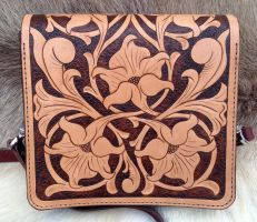 Hand Tooled Leather Purse - Back by SonsOfPlunderLeather
