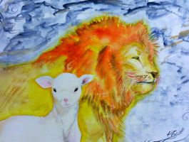 Watercolor Lion and the Lamb by Quazplam
