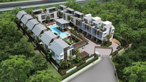 a bungalow complex, aerial by acest