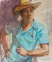 A man in a straw hat by Artbashev