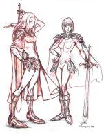 Teresa and Claire from Claymore 1st Sketch (2007) by La-Nora