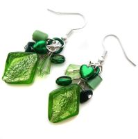 Green Diamond Earrings by fairy-cakes