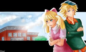 Helga and Arnold [Anime-Style] by u-m-a-i-i