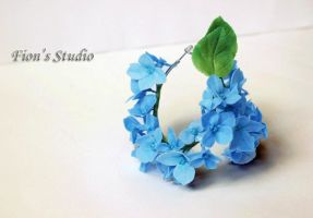 Blue Hydrangea Hoop Earrings by fion-fon-tier