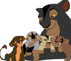 Mother and cubs adopt-five points by werewolftg
