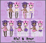 {Character Sheet} Mimi and Momo by IdoodleChibis