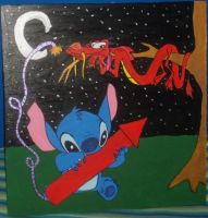 Stitch Meets Mushu Painting by andy-pants