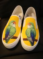 Comissioned lovebird shoes by methodmonkey