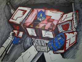Optimus Prime in color WIP by papabear7