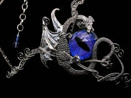 Pewter Dragon Choker Dragon Eye Purple by LadyPirotessa