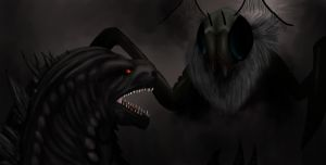 Godzilla vs Winged Muto by GeneralisimoJenny