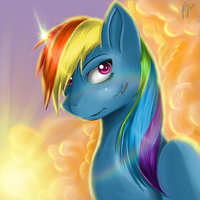 Rainbow Dash in the clouds by DoomXWolf