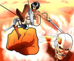 Mikasa Ackerman Vs Colossal Titan by cromarlimo