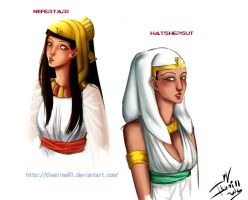 Doodle - Nefertari and Hatshepsut by DiesIrae91