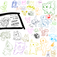 POKEMON SKETCH DUMP by lalaraptor