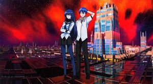 Natsuru and Shizuku Space City Wallpaper by weissdrum