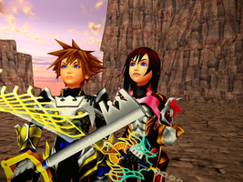 Battle Time - Armored Sora and Kairi by XionOblivion4