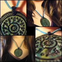 Polymer Clay Circle Pendant by hintingthoughts