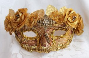 Gold Queen Masquerade Mask Commission by DaraGallery