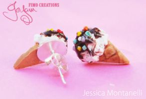 Ice Cream - Stud Earrings by Jeyam-PClay