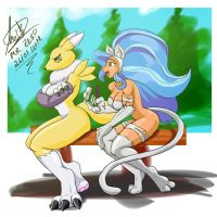 Re-Renamon y felicia by Mr-Zero
