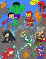 DC Justice League vs Marvel Avengers by GingerBaribuu