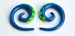 Tentacle Gauges in Blue and Green 001 by Dabstar