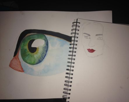 Watercolour eye and Sophie Turner by xZelsax14