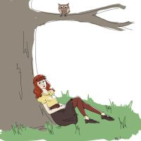 A girl, a tree, and an owl. by abibuu