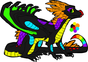 Rainbow Dragon Adoptable -CLOSED- by Wolfies--Adopts
