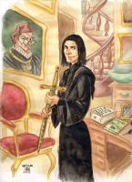 DH Snape and Gryffindor sword by cabepfir