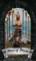 Skyrim Tarot - Nine of Staves by Whisper292