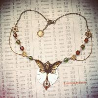Steampunk Necklace, butterfly woman by Verope