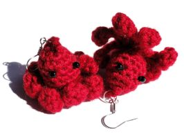Crochet Octopus Earrings Red by Stimorolletjuh