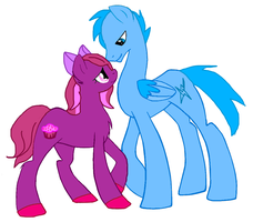 Pink sweet's husband, Blue lightning by Mud-Muffin