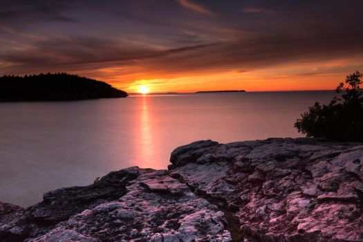 Sunset over Lake Huron by NoonanK