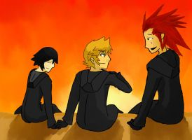 Roxas, Xion, Axel doing whatever by that-duck-witha-hat