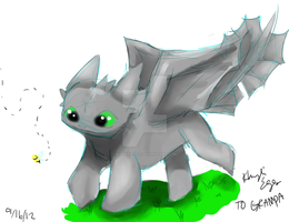 httyd Toothless and the Bee by kittyface27