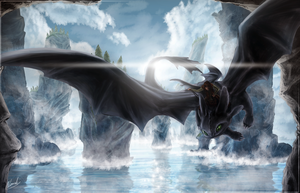 Night Fury - Train Your Dragon Speed Art - 7hrs by IceDragonhawk
