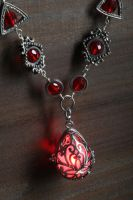 Red Glowing Drop Necklace by CatherinetteRings
