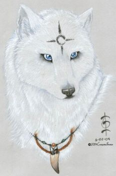 Blue-Eyed White Wolf 2 by CrescentMoon