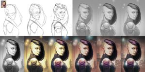 Digital painting process / Lanaelle - 2015 by EvilPNMI