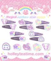 Magical rainbow star series rings and hair clips by miemie-chan3