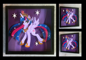 Commission:  Regal Twilight Shadowbox by The-Paper-Pony