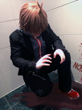 Danganronpa Cosplay: The first crime scene by DeathNoteDevil