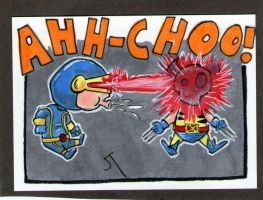 Cyclops vs Wolverine sketch card by johnnyism