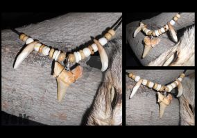 Fossil Shark Tooth w. Coyote Canines by Shamans-Yoik