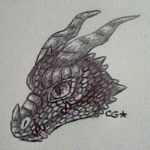 Pen dragon headshot 1 by SolarGem