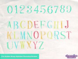 Free alphabet rubber stamp photoshop brushes by ClementineCreative